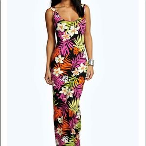 Tropical Scoop neck maxi dress